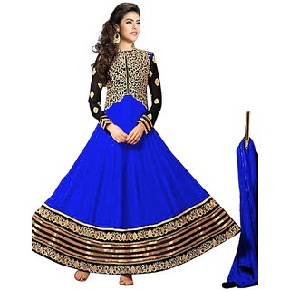 Vibes Womens  Georgette  Anarkali Style Unstich Dress Material (V327-10004Blue)