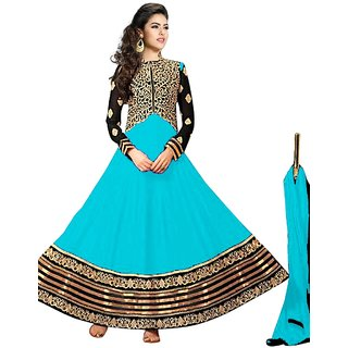 Vibes Womens  Georgette  Anarkali Style Unstich Dress Material (V327-10005Blue)