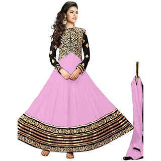 Vibes Womens  Georgette  Anarkali Style Unstich Dress Material (V327-10007Pink)