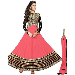 Vibes Womens  Georgette  Anarkali Style Unstich Dress Material (V327-10008Peach)