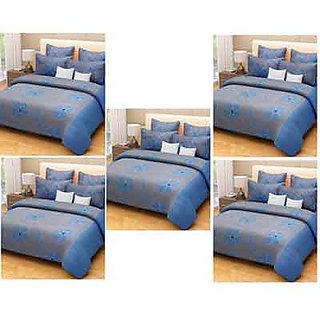 Akash Ganga Luxury Pair of Blue 5 Double Bedsheets with 10 Pillow Covers