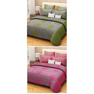 Akash Ganga Red  Green 2 Cotton Double bedsheets with 4 Pillow Covers