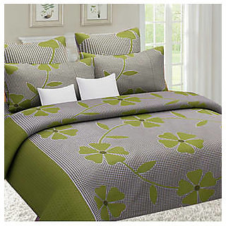 Akash Ganga Green Cotton Double Bedsheet with 2 Pillow Covers