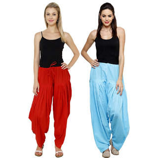 Pistaa combo of womens cotton Red and Sky Blue full patiala salwar Pant