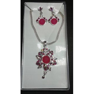 Silver Pendant Set From Engage For Partywear