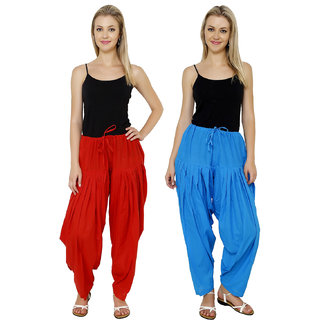 Pistaa combo of womens cotton Red and Turqoise Blue full patiala salwar Pant