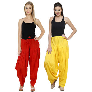 Pistaa combo of womens cotton Red and Yellow full patiala salwar Pant