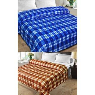 Shopgalore Combo of Checks Single and Double AC Blanket(CSDB-011)