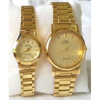 HMT All Over Gold Plated Chain Couples Watches With Boxes