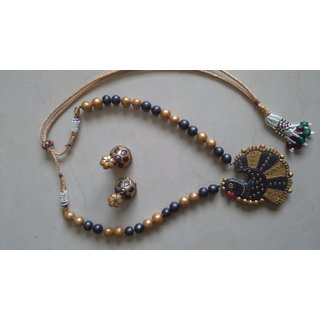 black and gold peacock terracotta necklace set