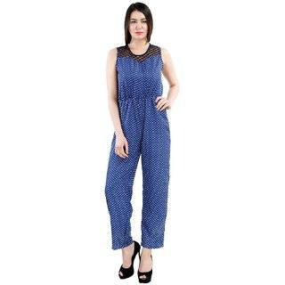 Ektara Navy Blue Polka Dotted Jumpsuit
