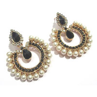 Black stone tilak pearl polki earrings