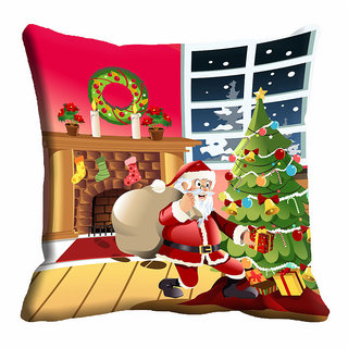 meSleep Happy Santa Christmas Cushion Cover 16x16