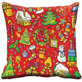 meSleep Red Christmas Cushion Cover 16x16