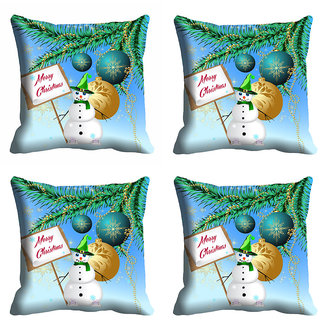meSleep Merry Christmas Snowman Cushion Cover 16x16