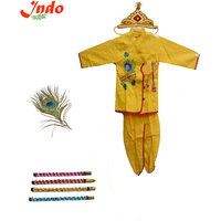 Indo Designer Krishna Dress Full Set With (Crowen, Peacock Feather and Flute)