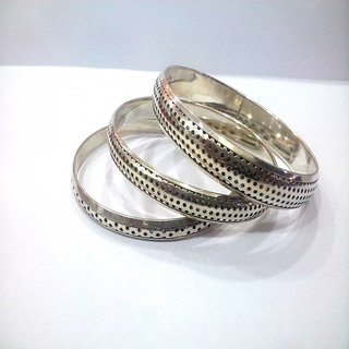 Silver Bangle Set Hand crafted Brass stylish pretty Bangle set of 3pcs ethnic