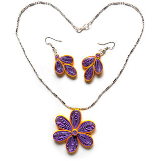 Handmade Light Weight Quilled Paper Purple And Yellow Flower Earrings& Pendant J