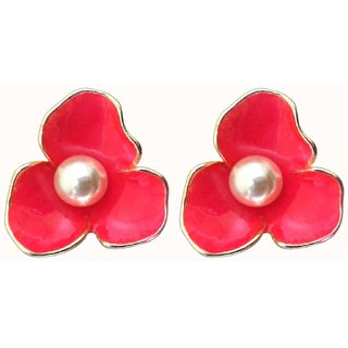 Flower Style Pink Stud Earrings with Faux Pearl - 744.9