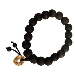 Men Style Black Feng Shui Coin with Tibetan Buddha Prayer Bracelet