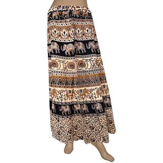 Pezzava: Women's Wear Block Print Cotton Wrapround Long Skirt SKT-WLC-A0268
