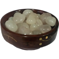 Rose Quartz Pebbles Tumbles Beads In Wooden Bowl - Reiki, Healing Crystals