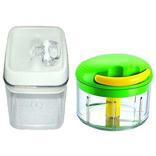 Easy Lock White Mirror Finish Airtight Container With Ultimate Multi Chopper