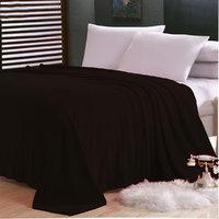 Sparkk Home Plain Single Fleece AC Blanket-(Brown)