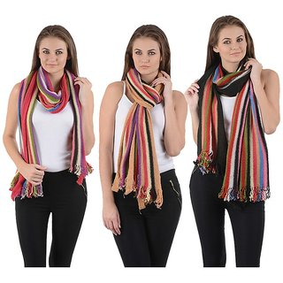 iLiv Woolen winter season Stoles- set of 3 - 3wool28