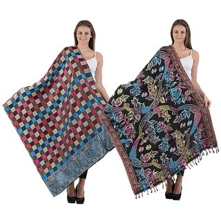 iLiv Combo- Winter checkered & Multicolored Stoles Cum stoles - chkmulti06