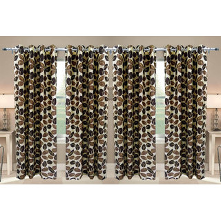 Shiv Shankar Handloom Satta Brown Long Door Curtain (Set of 4)