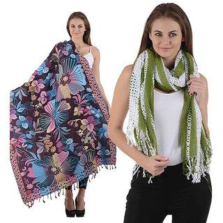 Combo- Multicolored Designer shawl & Green Stole-multigreennet10
