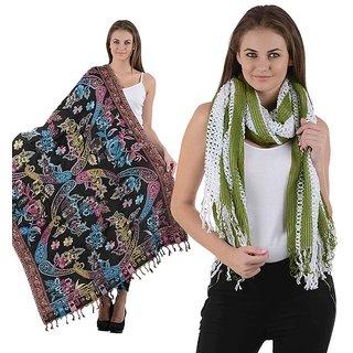 Combo- Multicolored Designer shawl & Green Stole-multigrnnet16