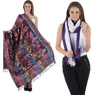 Combo- Multicolored Designer shawl & Purple Stole-multipplnet12