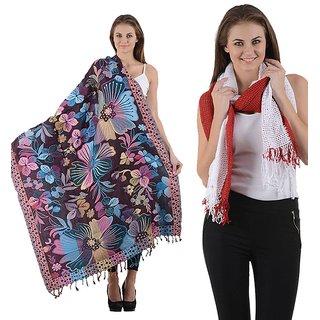Combo- Multicolored Designer shawl & Red Stole-multirednet9