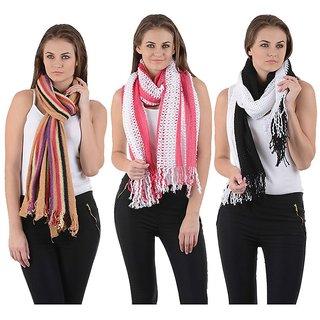 Winter Combo -Designer woolen Black & Red stoles-woolredblknet25