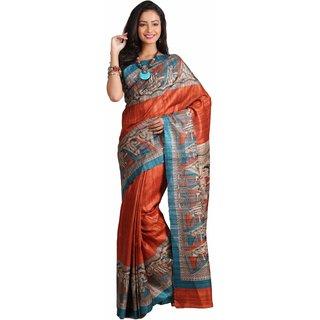 Silk Only Gadd Madhubani Folk Print Silk SareeS36