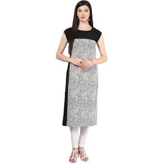 IVES Regular Fit Black Cap Sleeve Printed Crepe Kurtas for women