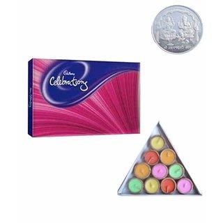 Appealing Cadbury Celebrations Silver Plated Coin Wax Diyas