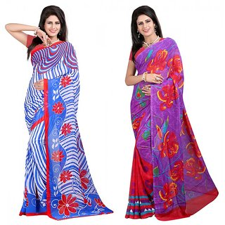 Desi Stylz Premium Printed Georgette Saree Combo of 2 DS-SR-GG-02-05-02