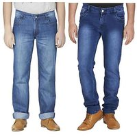 Wajbee Blue Mid Rise Jeans For Mens (Pack Of 2)