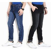 Wajbee Blue  Black Mid Rise Jeans For Mens (Pack Of 2)