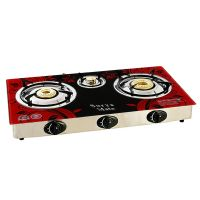Surya 3 Burners Automatic Glass Top Gas Cooktop
