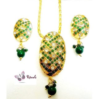 Beautiful Green  Cz Diamonds Pendant Set