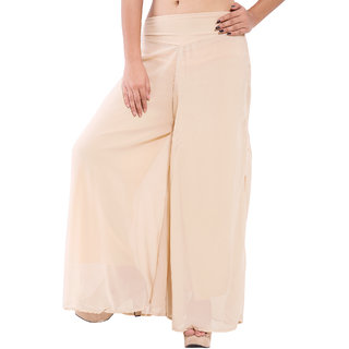Wetern design beige color Rayon lycra Plazzo Pant For Women