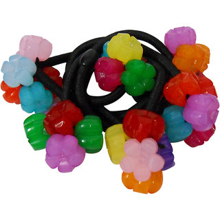 Adbeni Colourful Flower Black Nylon Coated Hair Rubber Bands Good Choice