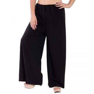 Wetern design Black color Rayon lycra Plazzo Pant For Women