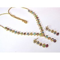Golden reainbow stone necklace set