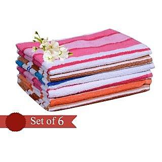 Akash Ganga Stripes Design Cotton Hand Towel(Set of 6)