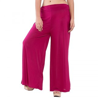 Wetern design Pink color Rayon lycra Plazzo Pant For Women